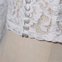 Button Down Short Sleeve Lace Shirt Wedding Bridal Plus Size Crop Lace Shirts image 5