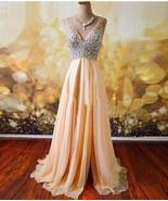 Real A-Line Evening Dresses Formal V-Neck Chiffon Crystal Prom Bridal Go... - $98.75