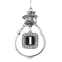 Inspired Silver Number 1 Classic Snowman Holiday Decoration Christmas Tree Ornam - $14.69