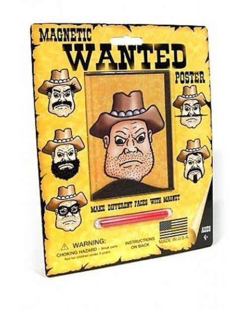 The Original Wooly Willy Western Wanted Poster Many Faces Magnetic Novelty Toy