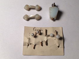 Lot of 3 Pearl and other Vintage Antique Cufflink 1800s Early 1900s Cuff... - $44.55