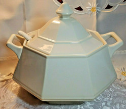 VINTAGE CREAM COLORED SOUP TUREEN W/ COVER AND LADLE GLAZED PORCELAIN