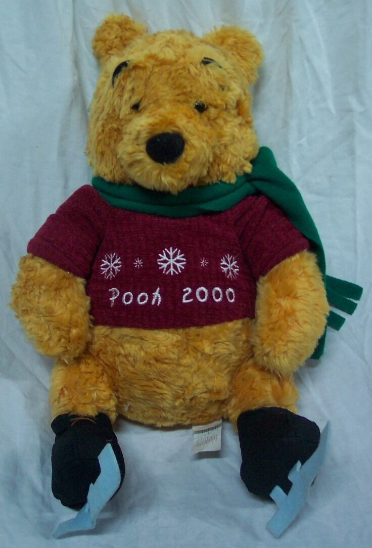 "Primary image for Disney Store WINNIE THE POOH W/ ICE SKATES & SCARF 13"" Plush Stuffed Animal"