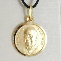 SOLID 18K YELLOW GOLD POPE FRANCIS FRANCESCO FRANCISCO 15 MM MEDAL MADE IN ITALY image 1