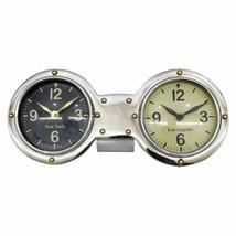 Upscale & Modern Metal, Dual Clock, Silver - $119.21