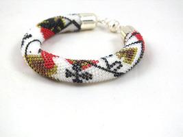 Seed beads crochet rope bracelet with poker cards pattern, beaded bracelet  - $25.00