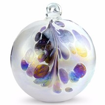 "4"" European Art Glass Crested Plume Violet & Pearlized White Witch Ball ... - $24.20"