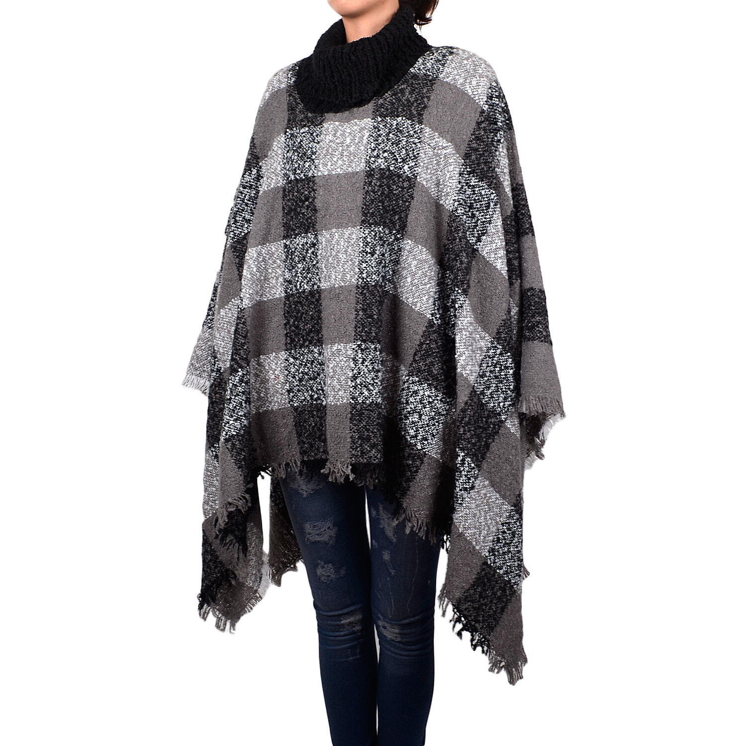 Primary image for Women's Fashion Plaids & Checks Knitted Tassel Shawl Poncho High Neck