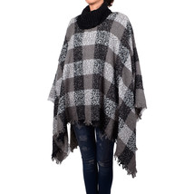 Women's Fashion Plaids & Checks Knitted Tassel Shawl Poncho High Neck - $17.99