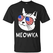Funny Cat Meowica T Shirt USA Flag Glasses 4th of July - ₨1,622.97 INR+