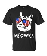 Funny Cat Meowica T Shirt USA Flag Glasses 4th of July - $29.18 CAD+