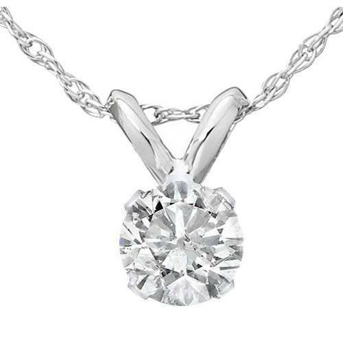 1/4ct Solitaire Diamond Pendant Necklace White Gold Finish 925 Sterling Silver - £29.68 GBP