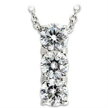 """CLEARANCE------HCJ 3 STONE CUBIC ZIRCONIA PENDANT WITH 18"""" STERLING SILV... - $15.00"""