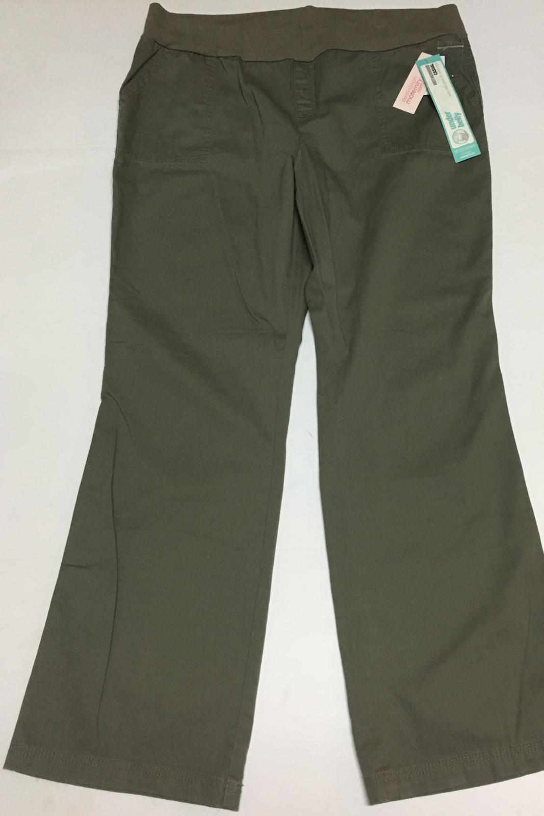 Motherhood Under Belly Pants Jeans Khaki Green XL NWT