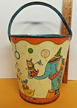 Vintage 1950s J. Chein & Co Made In USA Sand Bucket Carnival Tin Toy Bea... - $19.75