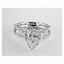 Certified 2.50Ct Pear Diamond 14K White Gold Split Shank Halo Engagement... - $265.28