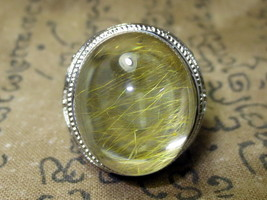 Rare Magic Blessed Mai-Thong Stone Silver Ring Luck Charming Thai Buddha... - $19.99