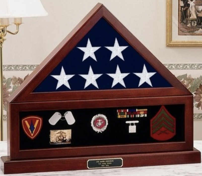 Primary image for COMBINATION BURIAL FLAG DISPLAY CASE SHADOW BOX FLAG MEDAL PEDESTAL