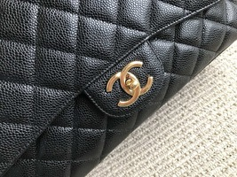 AUTHENTIC CHANEL BLACK QUILTED CAVIAR MAXI CLASSIC DOUBLE FLAP BAG GHW image 4