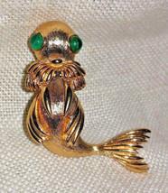 Monet BABY WALRUS Pin Brooch ~ Cabachon Eyes, Gold Plated Vintage - $24.95