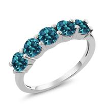 1.50 Ct Round Natural London Blue Topaz 925 Sterling Silver Gemstone Eng... - $95.98