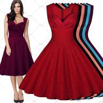 Womens Vintage Elegant Sleeveless Polka Dot 1950s Rockabilly Evening Par... - $43.95