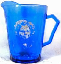Vintage 1930's Hazel Atlas Shirley Temple Cobalt Blue Glass Pitcher - $19.99