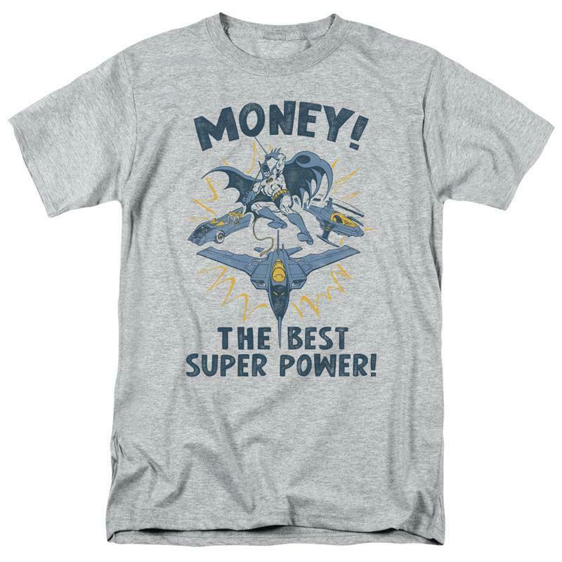 Batman money t shirt superfriends retro 80s cartoon dc grey graphic tee dco638