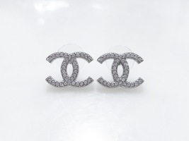 Authentic Chanel Classic Large CC Logo Crystal Silver Stud Earrings