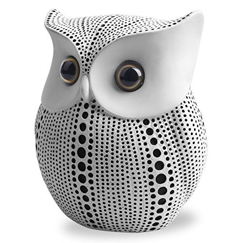 Owl Statue Decor (White) Small Crafted Buho Figurines for Home Decor Accents, Li