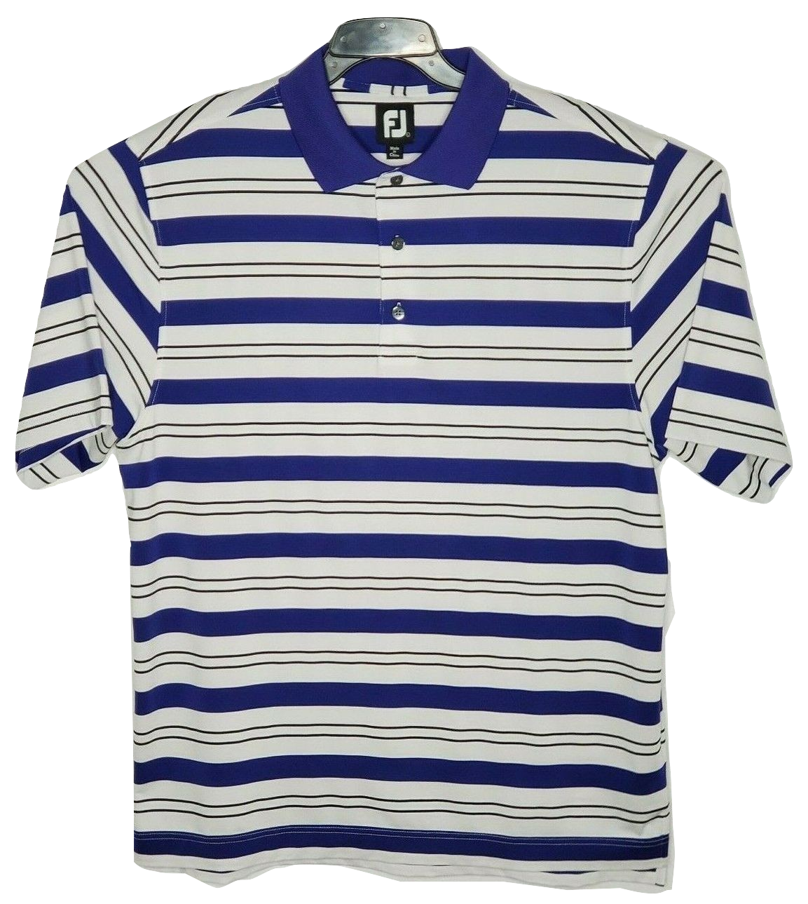 Primary image for FootJoy Golf Polo Shirt Performance Stretch Blue/White/Blk Stripes FJ Mens L
