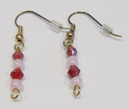 handmade red & pink beaded dangle earrings - $9.00