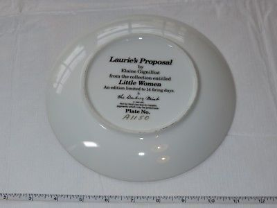 Laurie's Proposal Elaine Gignilliat Little Women Danbury Mint Collector Plate ~ image 3