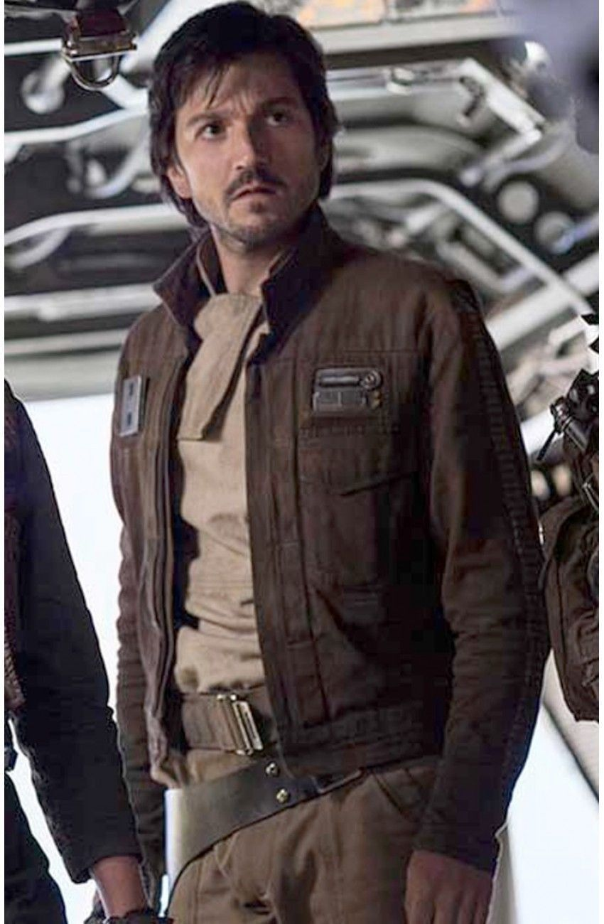 Primary image for Star Wars Rogue One Captain Cassian Andor Diego Luna Brown Leather Jacket - FL41