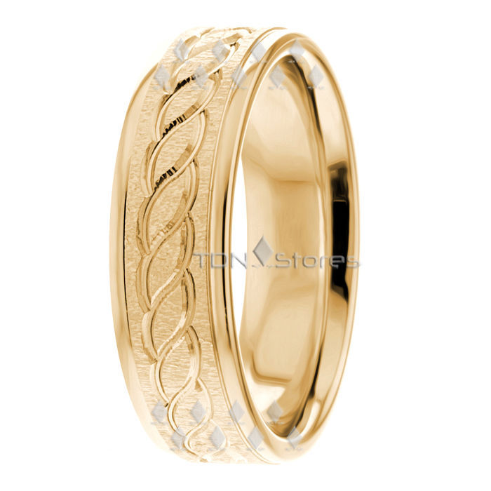 14K Gold Two Tone Infinity Mens Wedding Rings  Womans Celtic Wedding Bands Ring