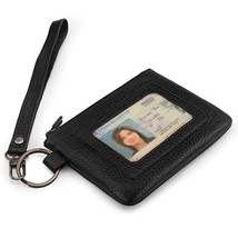 Otto Angelino Genuine Leather Zippered ID Wallet with Wrist Strap – Unisex Black