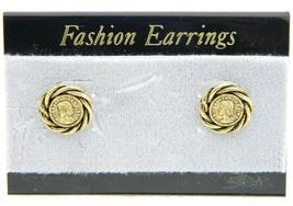 VTG Style Gold Tone Elizabeth II Regina Post Earrings - $9.90