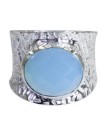Beautiful Natural Blue Chalcedony Oval Shape 925 Sterling Silver Ring  U... - €46,02 EUR