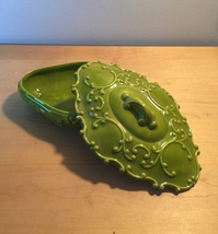 Vintage 70s Holland Mold green ornate trinket/candy dish with lid/cover