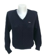 Vintage 1980s Fila Women's Black Wool Ribbed Tennis Sweater Made Italy S... - $41.79