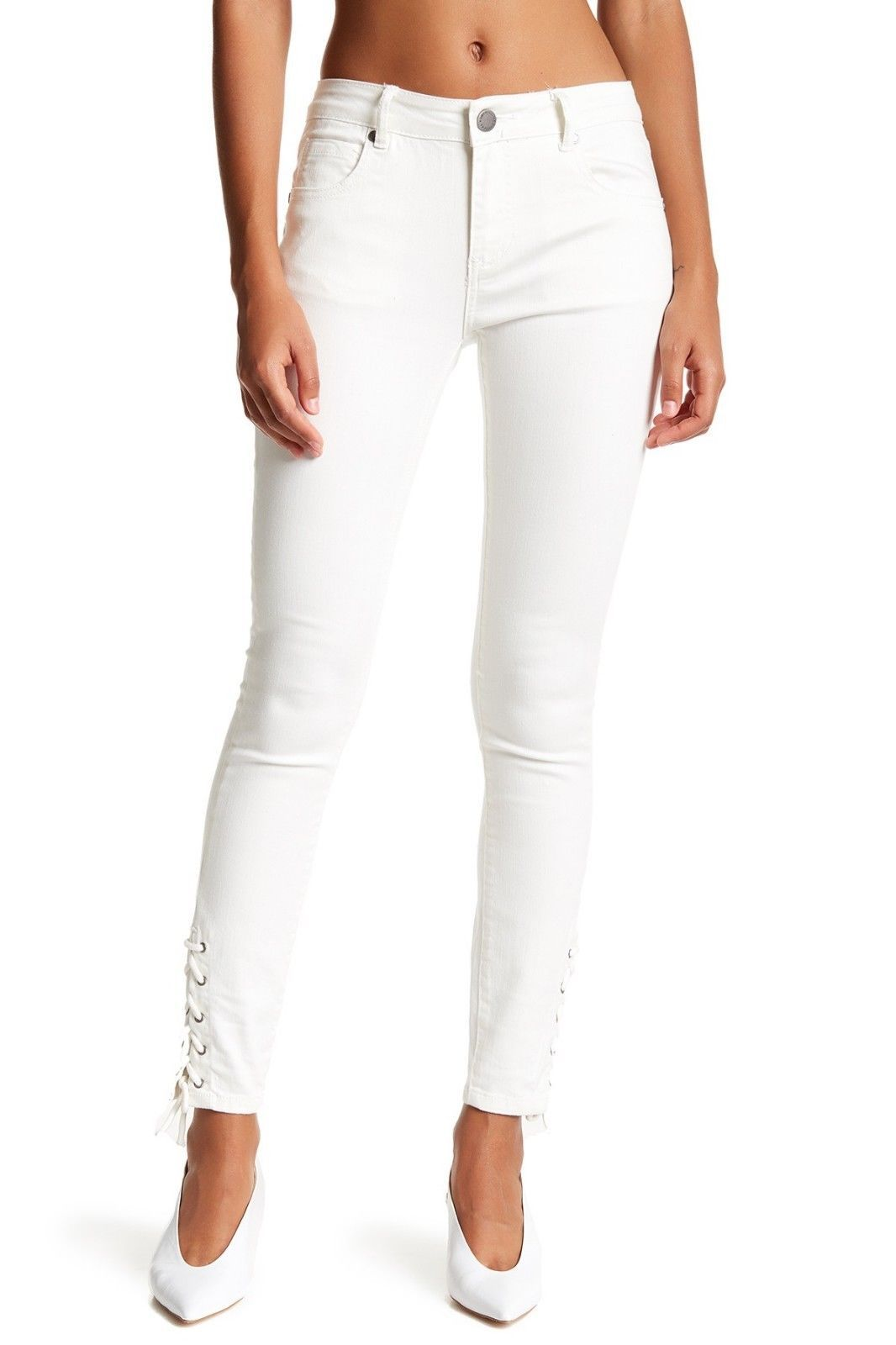 Primary image for Romeo & Juliet Couture Lace-Up Skinny Jeans OYSTER COLOR SIZE MEDIUM MSRP$155.00