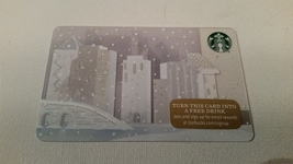 Starbucks Gift Card - NEW - WINTER VILLAGE  WHITE CITY WITH SNOW 2015 - $1.99