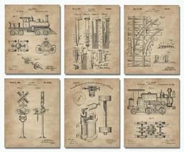 """Set 6 Railroad Train Patent Wall Art Prints -8""""x10""""- Locomotive Railway Gifts - $18.95"""
