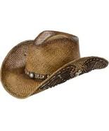 Bullhide Western Inspiration Panama Straw Cowgirl Fancy Underbrim Dark N... - €73,52 EUR