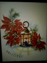 Pretty Lamp Lantern Red Poinsettias Vintage Christmas Card BOGO Sale  - £4.98 GBP