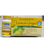 Bigelow Tea Lemon Ginger 18 Bags / Box & 60ct Probiotic Acidophilus 100 ... - $21.77
