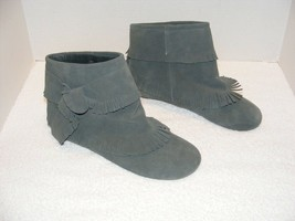Jeffrey Campbell BLUE/GRAY Suede Leather Prairie Mocc ASIN Ankle Boots Guc - $99.99