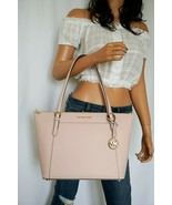NWT MICHAEL KORS CIARA LARGE TOP ZIP TOTE SHOULDER LEATHER BAG PINK BLOSSOM - $92.06