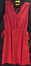 $89.99 Tommy Hilfiger Red Polyester 3-Button V neck sleeveless Dress Size: Lg - £28.54 GBP