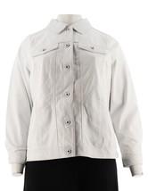 Denim & Co Lamb Leather Long Slv Collar Jean Jacket Soft White XL NEW A2... - $139.57
